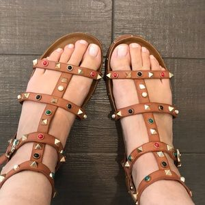 Brown Gladiator Sandals, Size Euro 39, Size 9